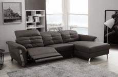 canapé d'angle avec un relax électrique en cuir de buffle italien de luxe 5 places beaurelax noir, angle droit,  pouf offert