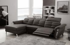 - canapé d'angle avec un relax électrique en cuir de buffle italien de luxe,  5 places beaurelax noir, angle gauche,  pouf offert