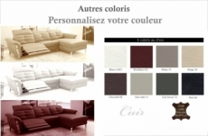 canapé d'angle avec un relax électrique en cuir de buffle italien de luxe 5 places beaurelax couleur personnalisée, angle droit,  pouf offert