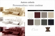 - canapé d'angle avec un relax électrique en cuir de buffle italien de luxe,  5 places beaurelax couleur personnalisée, angle gauche,  pouf offert