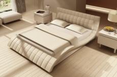 lit design en cuir italien de luxe belia, blanc, 160x200