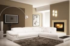 canapé d'angle en cuir italien 6 places belino, blanc