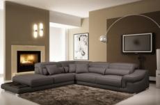canapé d'angle en cuir italien 6 places belino, gris foncé