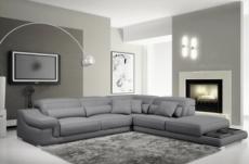 canapé d'angle en cuir italien 6 places belino, gris clair