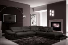 canapé d'angle en cuir italien 6 places belino, noir