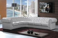 canapé d'angle en cuir italien 7/8 places belisi, blanc