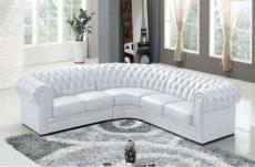 canapé d'angle en cuir italien 6/7 places bijou, couleur: blanc