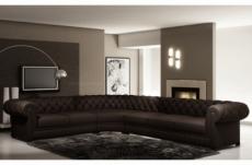 canapé d'angle en cuir italien 7/8 places belisi, chocolat