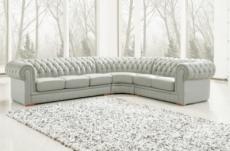 canapé d'angle en cuir italien 7/8 places belisi, gris clair.