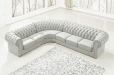 canapé d'angle en cuir italien 7/8 places belisi, gris clair