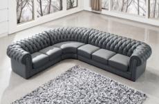 canapé d'angle en cuir italien 7/8 places belisi, gris foncé.