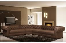 canapé d'angle en cuir italien 7/8 places belisi, marron.
