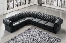 canapé d'angle en cuir italien 7/8 places belisi, noir.