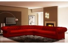 canapé d'angle en cuir italien 7/8 places belisi, rouge.