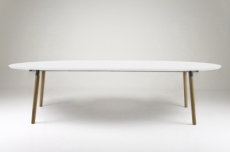table à manger design laqué blanc à rallonges, bella