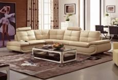 - canapé d'angle en cuir buffle italien de luxe 6/7 places bellaligna, beige, angle gauche