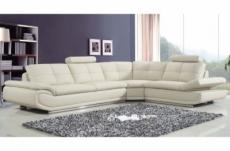 canapé d'angle en cuir buffle italien de luxe 6/7 places bellaligna, blanc, angle droit