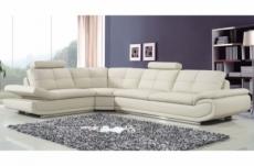 - canapé d'angle en cuir buffle italien de luxe 6/7 places bellaligna, blanc, angle gauche