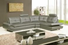 canapé d'angle en cuir buffle italien de luxe 6/7 places bellaligna, gris foncé, angle droit