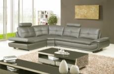 - canapé d'angle en cuir buffle italien de luxe 6/7 places bellaligna, gris foncé, angle gauche