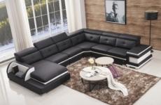 canapé d'angle cuir buffle italien 7/8 places , bellissimo, noir et blanc, angle droit