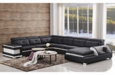 - canapé d'angle cuir buffle italien 7/8 places, bellissimo, noir et blanc, angle gauche