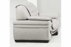 fauteuil 1 place en cuir italien benson, blanc.