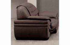 fauteuil 1 place en cuir italien benson, chocolat.