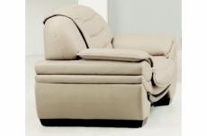 fauteuil 1 place en cuir italien benson, écru.