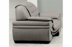 fauteuil 1 place en cuir italien benson, gris clair.