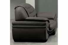 fauteuil 1 place en cuir italien benson, gris foncé.