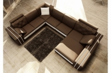 canapé d'angle en cuir italien 8 places bentley, chocolat et blanc