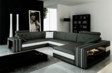 canapé d'angle en cuir italien 8 places bentley, gris foncé et blanc