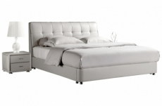 lit design en cuir italien de luxe berta, avec sommier à lattes, blanc, 140x190