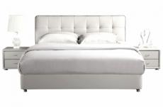 lit design en cuir italien de luxe berta, avec sommier à lattes, blanc 140x200