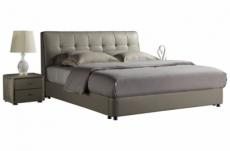 lit design en cuir italien de luxe berta, avec sommier à lattes, gris clair, 140x190