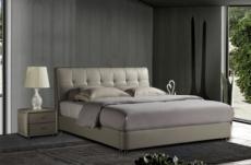lit design en cuir italien de luxe berta, avec sommier à lattes, gris clair, 160x200