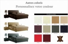 lit design en cuir italien de luxe berta, avec sommier à lattes, couleur personnalisée,  140x190