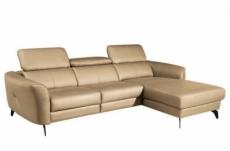 canapé d'angle en cuir de luxe italien , 5 places berti, beige, angle droit