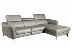 canapé d'angle en cuir de luxe italien , 5 places berti, gris clair, angle droit