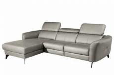 canapé d'angle en cuir de luxe italien 5 places berti, gris clair, angle gauche