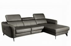 canapé d'angle en cuir de luxe italien , 5 places berti, gris foncé, angle droit