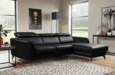 canapé d'angle en cuir de luxe italien , 5 places berti, noir, angle droit