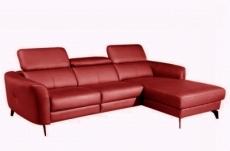 canapé d'angle en cuir de luxe italien , 5 places berti, rouge foncé, angle droit