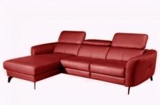 canapé d'angle en cuir de luxe italien 5 places berti, rouge foncé, angle gauche