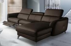 canapé d'angle relax en cuir de luxe italien avec relax électrique, 5 places bertoni, chocolat, angle droit