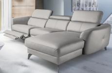 canapé d'angle relax en cuir de luxe italien avec relax électrique, 5 places bertoni, gris clair, angle droit