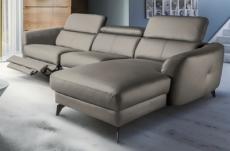 canapé d'angle relax en cuir de luxe italien avec relax électrique, 5 places bertoni, taupe, angle droit