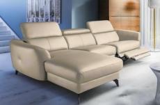 canapé d'angle relax en cuir de luxe italien avec relax électrique, 5 places bertoni, beige, angle gauche