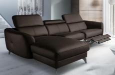canapé d'angle relax en cuir de luxe italien avec relax électrique, 5 places bertoni, chocolat, angle gauche